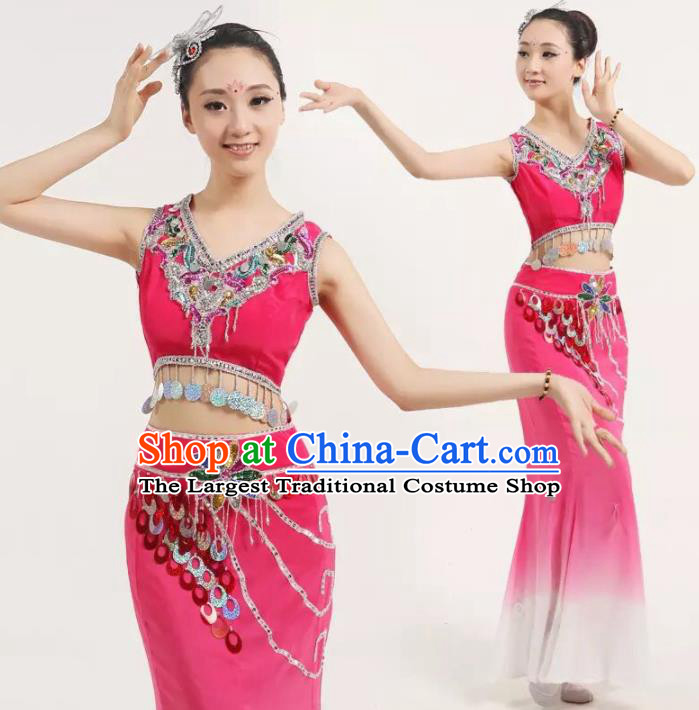 Chinese Traditional Classical Dance Costumes Stage Performance Peacock Dance Rosy Dress for Women