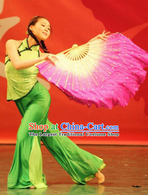 Chinese Traditional Folk Dance Costumes Stage Performance Fan Dance Green Dress for Women