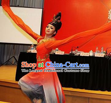 Chinese Traditional Classical Dance Costumes Stage Performance Fan Dance Red Dress for Women