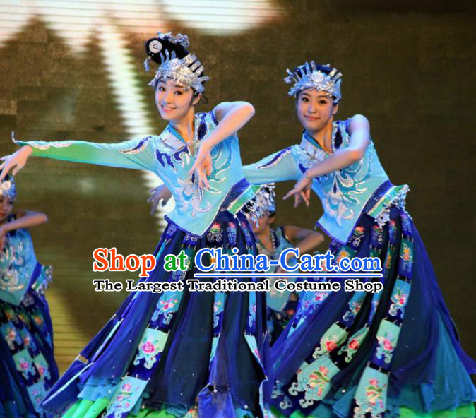 Chinese Traditional Classical Dance Group Dance Costumes Miao Nationality Stage Performance Dress for Women