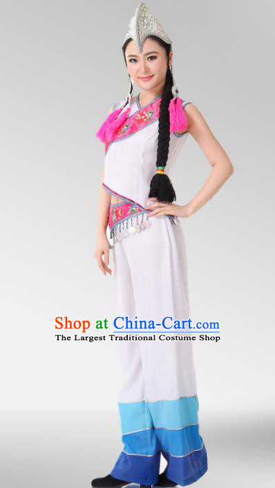 Chinese Traditional Folk Dance Group Dance Costumes Yi Nationality Stage Performance Dress for Women