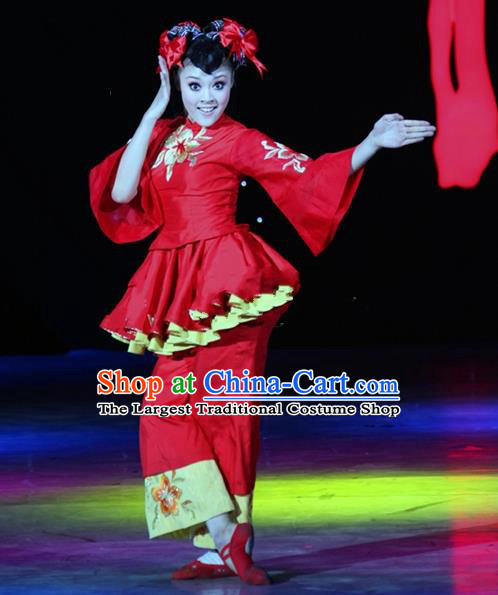 Chinese Traditional Folk Dance Red Costumes Group Dance Stage Performance Clothing for Women