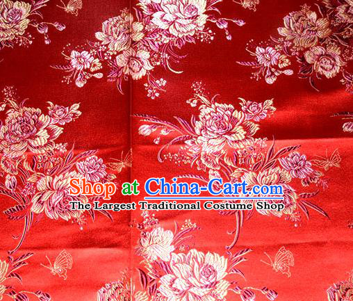 Asian Traditional Peony Flowers Pattern Design Red Satin Material Chinese Tang Suit Brocade Silk Fabric