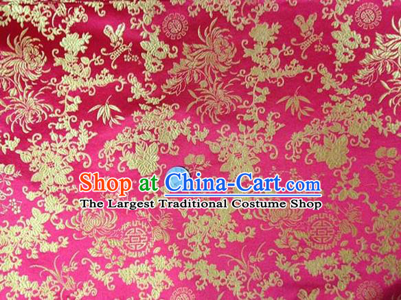 Asian Traditional Chrysanthemum Pattern Design Pink Satin Material Chinese Tang Suit Brocade Silk Fabric