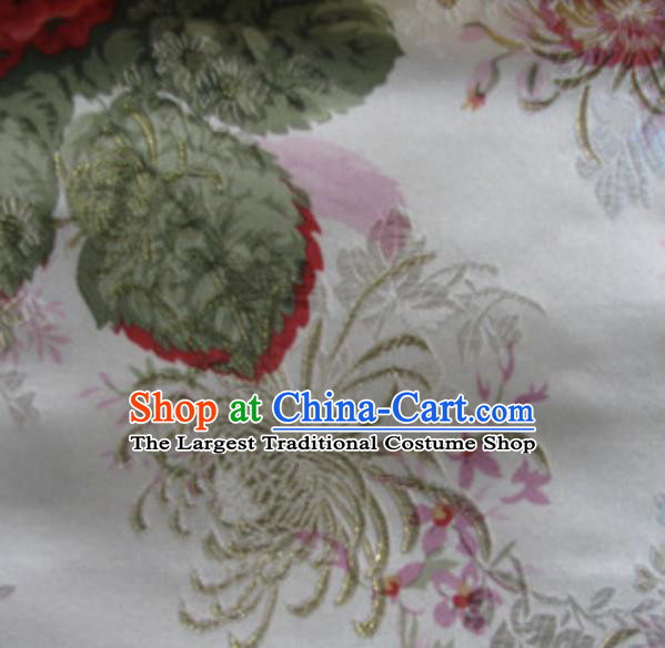 Asian Traditional Royal Chrysanthemum Pattern Design White Satin Material Chinese Tang Suit Brocade Silk Fabric