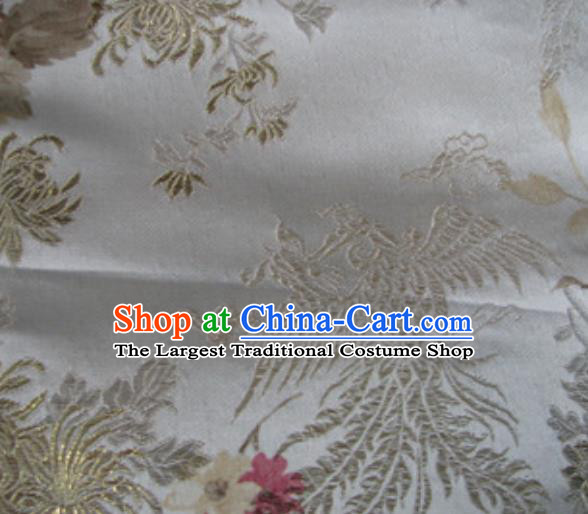 Asian Traditional Royal Phoenix Pattern Design White Satin Material Chinese Tang Suit Brocade Silk Fabric