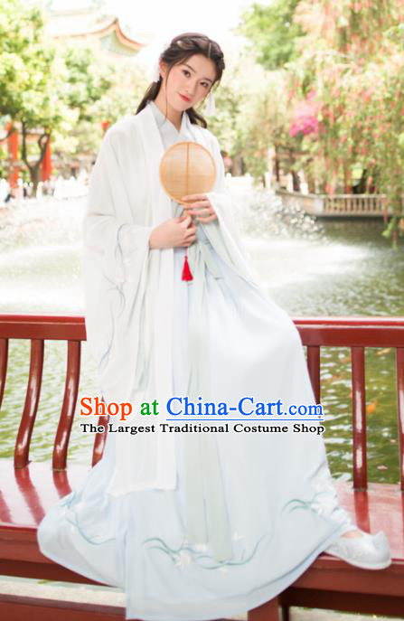 Chinese Ancient Palace Lady Historical Costumes Traditional Jin Dynasty Princess Hanfu Dress for Women
