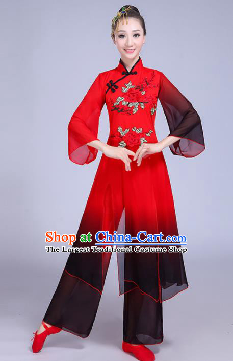 Chinese Traditional Group Dance Yangko Costumes Stage Performance Folk Dance Red Clothing for Women