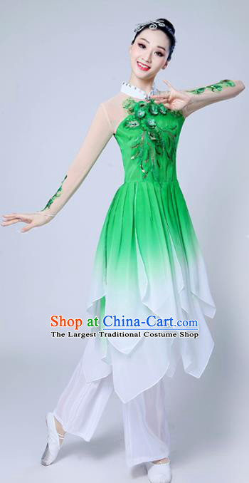 Chinese Traditional Classical Dance Costumes Stage Performance Dance Green Dress for Women