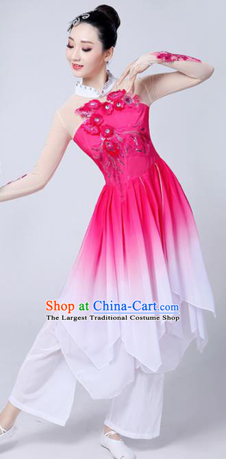 Chinese Traditional Classical Dance Costumes Stage Performance Dance Rosy Dress for Women