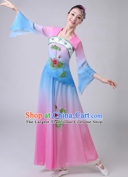 Chinese Traditional Classical Dance Lotus Dance Costumes Stage Performance Umbrella Dance Dress for Women