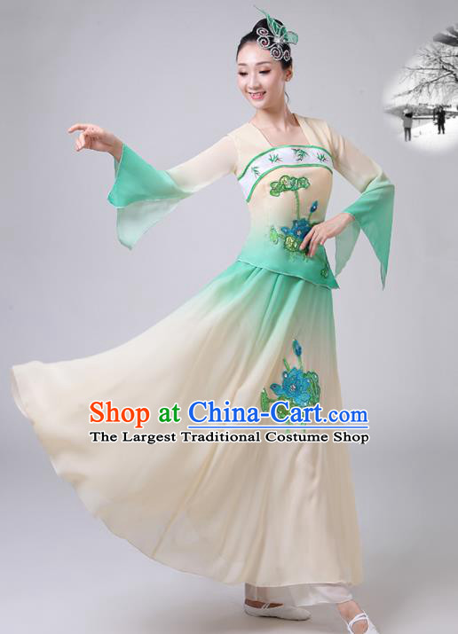 Chinese Traditional Classical Dance Green Costumes Stage Performance Umbrella Dance Dress for Women