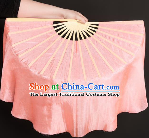 Chinese Traditional Folk Dance Props Pink Silk Fans Folding Fans Yangko Fan