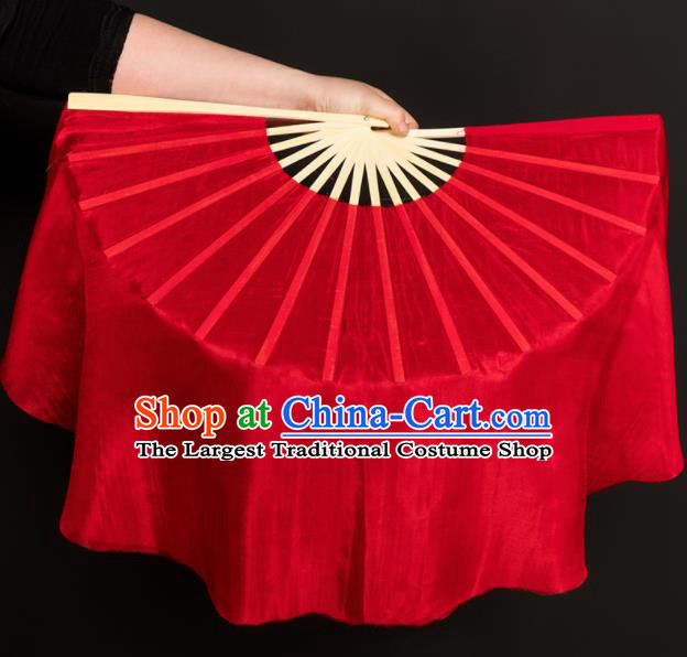 Chinese Traditional Folk Dance Props Red Silk Fans Folding Fans Yangko Fan