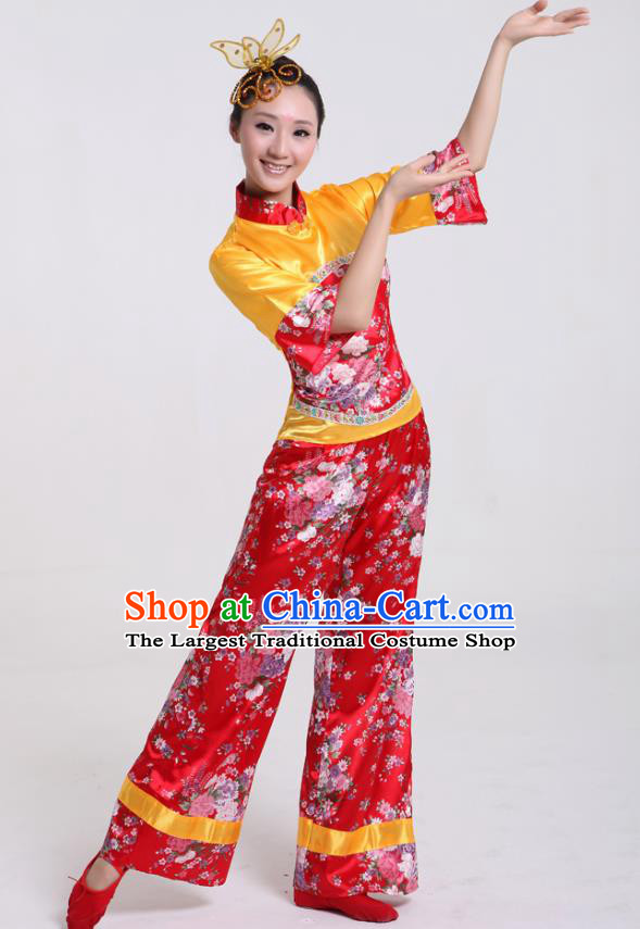 Chinese Traditional Yangko Dance Satin Costumes Group Dance Stage Performance Folk Dance Clothing for Women