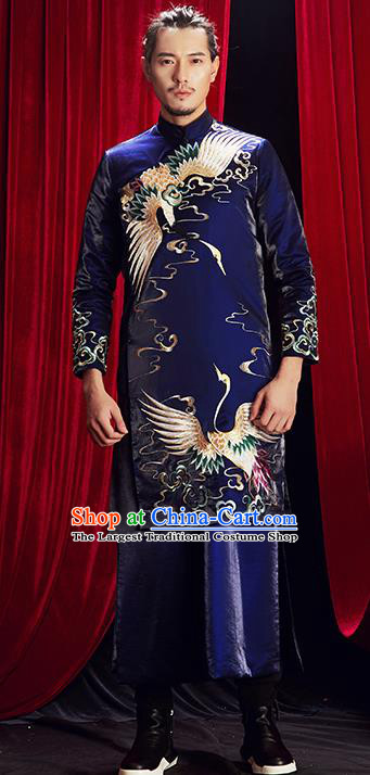 Chinese Traditional Wedding Costumes Tang Suit Bridegroom Embroidered Clothing for Men