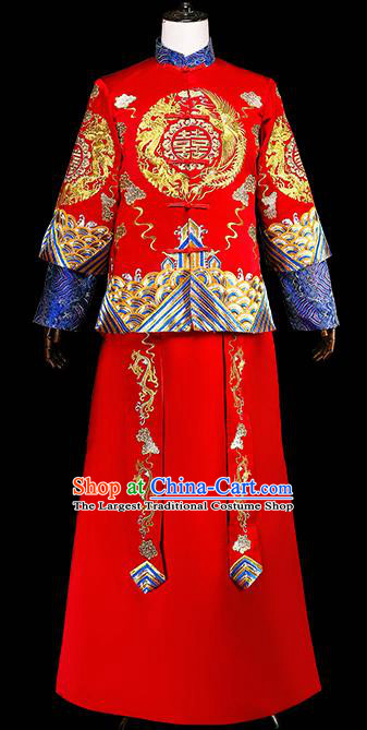 Chinese Traditional Wedding Costumes Tang Suit Bridegroom Embroidered Red Clothing for Men