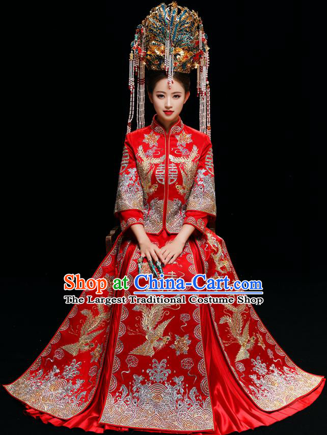 Chinese Traditional Wedding Toast Diamante Xiuhe Suits Ancient Bride Dress Embroidered Costumes for Women