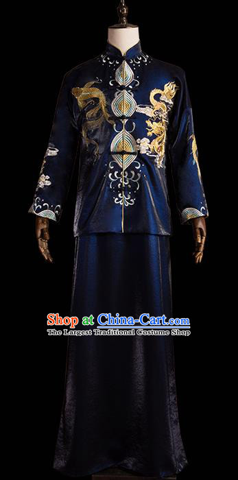 Chinese Traditional Wedding Costumes Tang Suit Bridegroom Embroidered Navy Clothing for Men