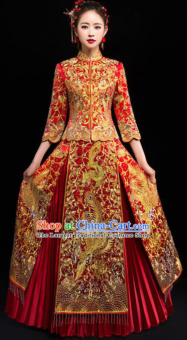 Chinese Traditional Wedding Dress Red Diamante Xiuhe Suits Ancient Bride Handmade Embroidered Costumes for Women