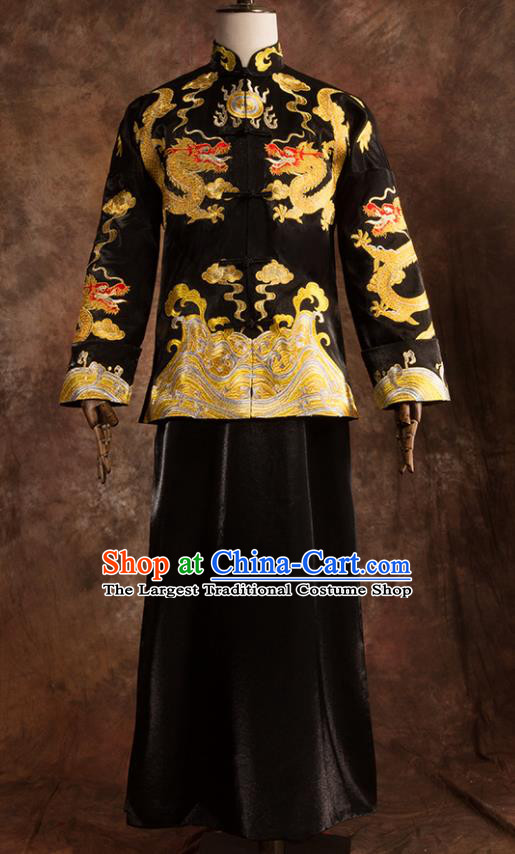 Chinese Traditional Wedding Costumes Bridegroom Embroidered Dragon Tang Suit Black Gown for Men