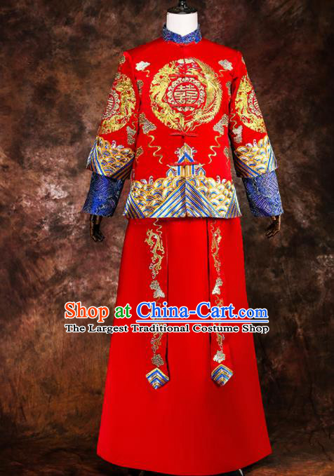 Chinese Traditional Wedding Costumes Ancient Bridegroom Tang Suit Red Gown for Men