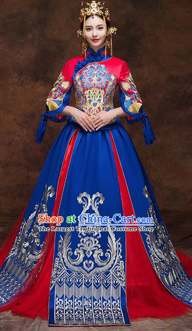 Chinese Traditional Blue Wedding Dress Ancient Bride Xiuhe Suits Handmade Embroidered Costumes for Women