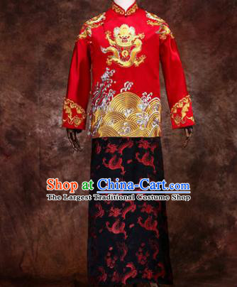 Chinese Traditional Wedding Costumes Ancient Bridegroom Tang Suit Red Mandarin Jacket Long Robe for Men