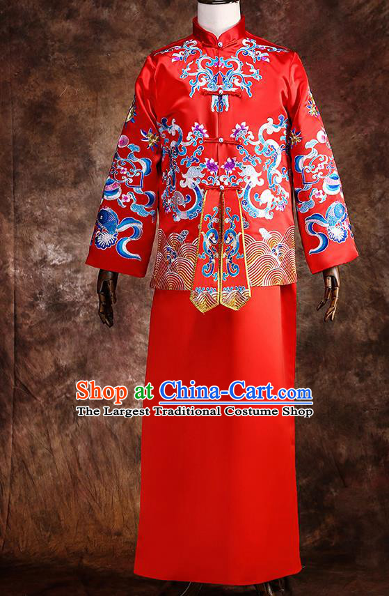 Chinese Traditional Wedding Costumes Red Mandarin Jacket Long Robe Ancient Bridegroom Tang Suit for Men
