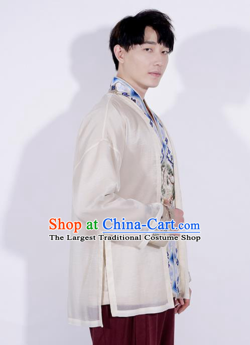Chinese Traditional Tang Suit Costumes National Embroidered Overcoat for Men