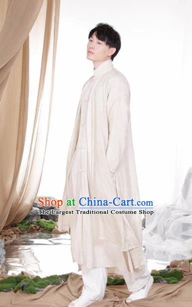 Chinese Traditional Tang Suit Costumes National White Linen Overcoat for Men