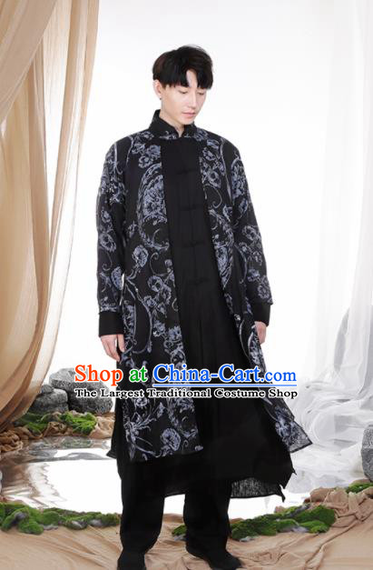 Chinese Traditional Tang Suit Costumes National Navy Linen Overcoat for Men