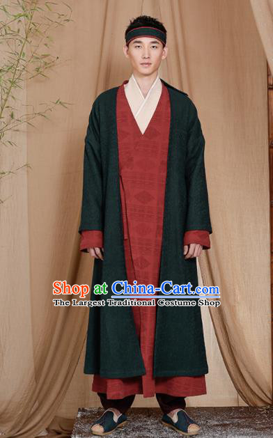 Chinese Traditional Tang Suit Costumes National Coat Overcoat for Men