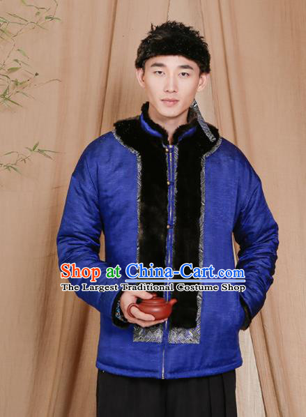 Chinese Traditional Tang Suit Costumes National Cotton Wadded Jacket Overcoat for Men