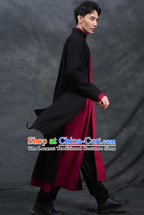 Chinese Traditional Tang Suit Costumes National Black Linen Plated Buttons Overcoat for Men