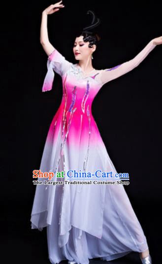Chinese Traditional Classical Dance Lotus Dance Costumes Umbrella Dance Pink Dress for Women