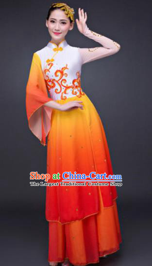 Chinese Traditional Umbrella Dance Costumes Classical Dance Lotus Dance Orange Dress for Women