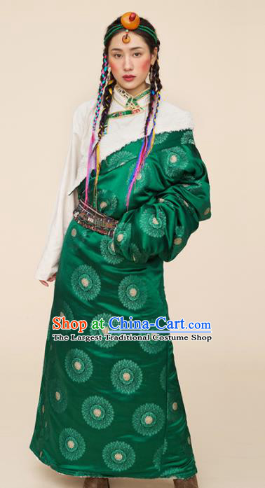 Traditional Chinese Zang Nationality Dance Costumes Ethnic Folk Dance Green Tibetan Robe for Women