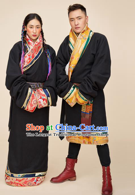 Traditional Chinese Zang Nationality Dance Costumes Tibetan Folk Dance Ethnic Clothing for Men for Women