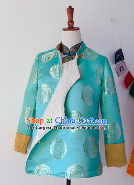 Traditional Chinese Zang Nationality Dance Costumes Tibetan Ethnic Folk Dance Blue Overcoat for Women