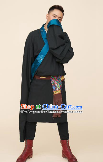 Traditional Chinese Zang Nationality Dance Costumes Black Tibetan Robe Folk Dance Ethnic Clothing for Men