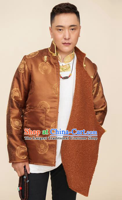 Traditional Chinese Zang Nationality Dance Costumes Tibetan Folk Dance Ethnic Brown Coat for Men