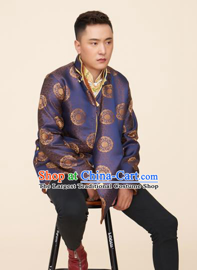 Traditional Chinese Zang Nationality Dance Costumes Tibetan Folk Dance Ethnic Blue Coat for Men