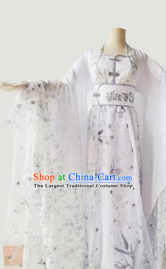 Traditional Chinese Tang Dynasty Aristocratic Lady Costumes Ancient Cosplay Princess White Hanfu Dress for Women