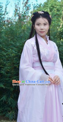 Traditional Chinese Jin Dynasty Princess Costumes Ancient Cosplay Imperial Concubine Pink Hanfu Dress for Women