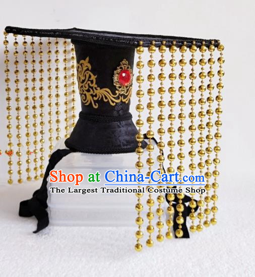 Chinese Ancient Emperor Hair Accessories Han Dynasty King Golden Tassel Hat Headwear for Men
