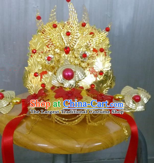 Chinese Ancient Bride Wedding Golden Phoenix Coronet Hair Accessories Tang Dynasty Empress Headwear for Women