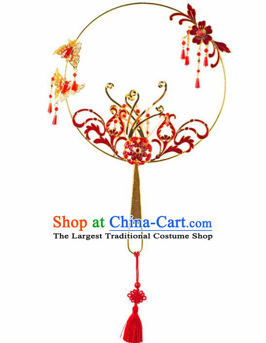 Chinese Ancient Wedding Accessories Bride Palace Fans Handmade Red Round Fan for Women