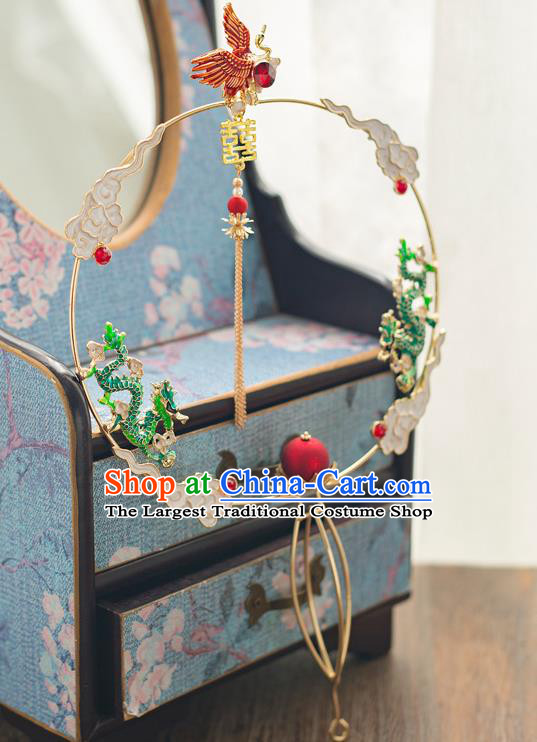 Chinese Ancient Wedding Accessories Bride Palace Fans Handmade Green Dragons Round Fan for Women