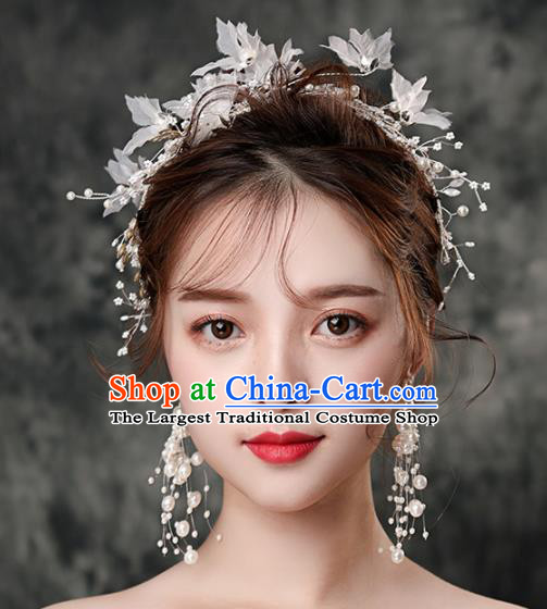 Top Grade Handmade Wedding Hair Accessories Bride White Silk Flowers Hair Clasp Headwear for Women